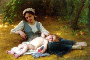 Leon-Jean-Basile Perrault - Jeune mere et enfant endormie (Young mother and sleeping child)