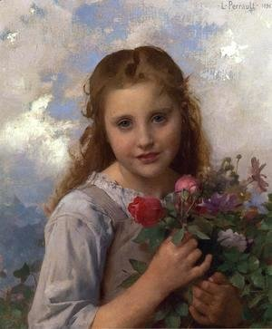 Leon-Jean-Basile Perrault - Young Girl with a Bouquet of Flowers