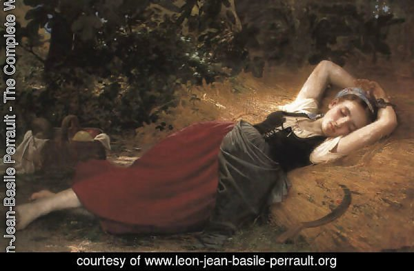 A young peasant girl, sleeping