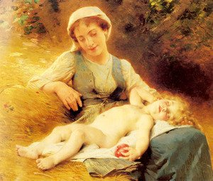Leon-Jean-Basile Perrault - A Mother With Her Sleeping Child